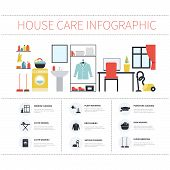 picture of cleaning house  - House cleaning infographic made in vector - JPG
