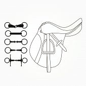 picture of saddle-horse  - Detailed set of equestrian icons - JPG