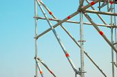 picture of scaffold  - Part of the construction scaffold with blue background - JPG