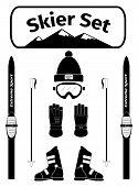 stock photo of cross-dressing  - Skier icons set with equipment vector illustration - JPG