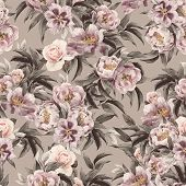 image of purple rose  - Seamless floral pattern with red purple and pink roses on light background watercolor - JPG