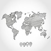 pic of political map  - Hand drawn doodle sketch political world map and geo tag pin pointers marker vector illustration - JPG