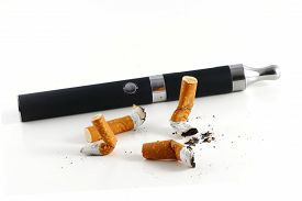picture of e-cig  - cigarette butts and electric cigarette isolated on white background vaping instead of smoking - JPG