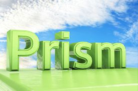 foto of prism  - Green Prism text in front of clouds and heaven  - JPG