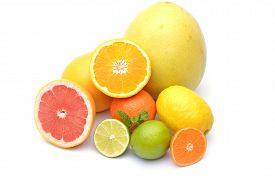foto of pamelo  - Fresh natural citrus fruits on white background - JPG