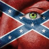 pic of flag confederate  - Confederate flag painted on a man - JPG