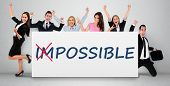 stock photo of impossible  - Impossible word writing on banner - JPG