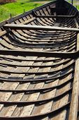 stock photo of old boat  - Inside view of old wooden viking boat - JPG
