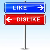 pic of dislike  - illustration of blue and red arrows for like and dislike - JPG