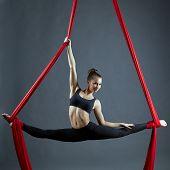 stock photo of do splits  - Attractive dancer doing gymnastic split on aerial silks - JPG