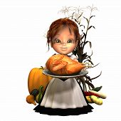 Pilgrim Girl With Turkey