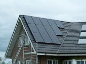 image of environmentally friendly  - Modern design small solar panel for green environmentally friendly energy - JPG