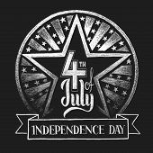 stock photo of chalkboard  - 4th of July Independence day - JPG