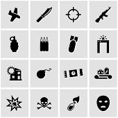 picture of war terror  - Vector black terrorism icon set on grey background - JPG