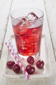 foto of cherry  - ice cold cherry juice and freshly washed cherries on a plate - JPG
