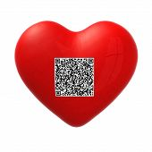 stock photo of qr codes  - red heart with qr code 3d illustration - JPG