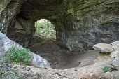 picture of cave  - Smokey Arch natural bridge in Carter Caves State Park in Olive Hill - JPG
