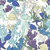 stock photo of jellyfish  - Vintage blue seamless sea summer background with algae - JPG