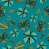 stock photo of aquamarine  - Geometrical shapes on aquamarine background - JPG