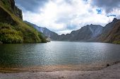 picture of volcanic  - a beautiful volcanic lake in the crater of mount Pinatubo on the island of luson Philippines the largest known eruption in the 20th century - JPG