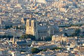 stock photo of notre dame  - Aerial view over Paris with the Notre - JPG