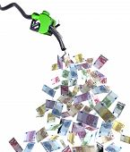 picture of fuel economy  - fuel nozzle with euro banknotes 3d illustration - JPG