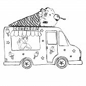 picture of hand truck  - Hand drawn sketch Ice Cream Truck with yang man seller and Ice Cream cone on top isolated - JPG