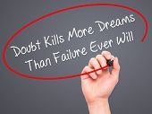pic of killing  - Man Hand writing Doubt Kills More Dreams Than Failure Ever Will with black marker on visual screen - JPG