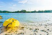 image of kayak  - Yellow kayak on the sea. Kayaking on island Lipe Satun Thailand ** Note: Shallow depth of field - JPG