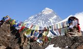 image of buddhist  - view of Mount Everest with buddhist prayer flags from Renjo La pass  - JPG