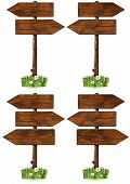 picture of ladybug  - Collection of wooden signs with directional arrow and pole - JPG