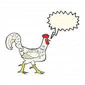 stock photo of cockerels  - cartoon cockerel with speech bubble - JPG