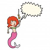 image of mermaid  - cartoon mermaid and fish hook with speech bubble - JPG