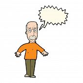 pic of annoyance  - cartoon annoyed old man with speech bubble - JPG