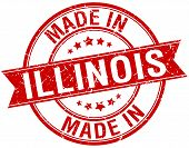 picture of illinois  - made in Illinois red round vintage stamp - JPG