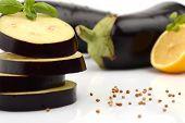 picture of aubergines  - Close - JPG