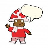 stock photo of fairy-mushroom  - cartoon mushroom man with speech bubble - JPG