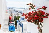 pic of greek-island  - Typical greek traditional village with white walls and colorful doors - JPG