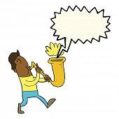 stock photo of saxophones  - cartoon man blowing saxophone with speech bubble - JPG