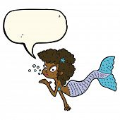 foto of mermaid  - cartoon mermaid blowing kiss with speech bubble - JPG