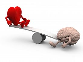 foto of seesaw  - seesaw with heart and brain 3d illustration - JPG