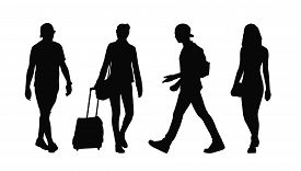 foto of ordinary woman  - silhouettes of ordinary young adult men and women walking outdoor summertime - JPG