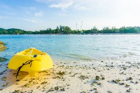 image of kayak  - Yellow kayak on the sea. Kayaking on island Lipe Satun Thailand
