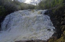 stock photo of murmansk  - General view of the waterfall  - JPG