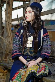 foto of national costume  - Young Girl in National Northen Vietnam Tribal Costume  - JPG