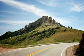 foto of colorado high country  - Curving Mountain Road on sunny day Colorado USA - JPG
