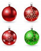 vector colored christmas balls isolated on white