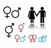 vector male and female sign set