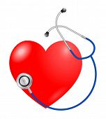 vector red heart and  stethoscope