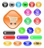 Vector botones web con icono de carro de compras